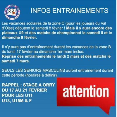 Infos entrainement