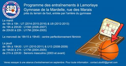 Programme des entrainements sud basket oise a lamorlaye 1