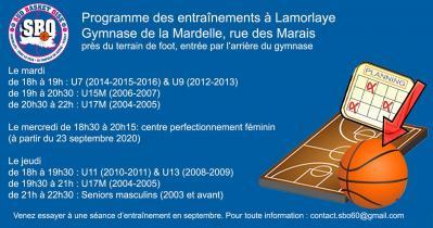 Programme des entrainements sud basket oise a lamorlaye 2