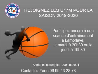 Venez rejoindre les u17m sud basket oise
